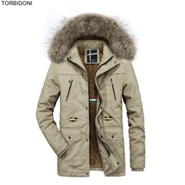 padded drawstring NZ - Winter Jacket Men Casual Solid Parkas Thick Fleece Warm High Quality Male Jacket Fur Hoodie Thick Padded Coat Drawstring Waist