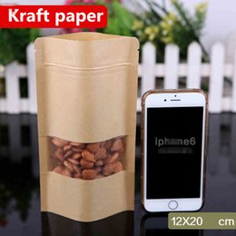 Discount heat seals - 12x20cm Stand Kraft Paper Window Frosted Showcase Packaging Food Bags Heat Sealing Zip Lock Reusable Baking Candy Snacks