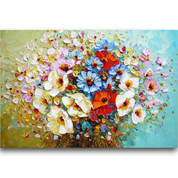 Decorative Hand Paintings Australia - Hand Painted Famous Creative Knife Flower Canvas Handmade Oil painting decorative wall pictures Christmas gifts