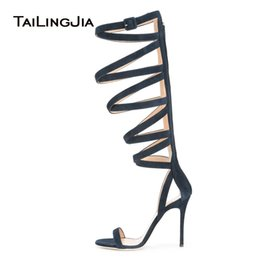 720204271d07 Blue Strappy Stiletto Sandals for Women Knee High Gladiator Summer Boots  Ladies High Heel Evening Dress Shoes Big Size 2018
