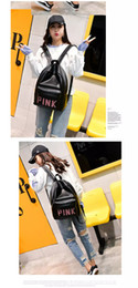 Discount sequin bag clothing - Cool PU leather Pink Sequin shoulder bag Girls Pink letter backpack for travel outdoor hiking School bag DHL free 31*41*