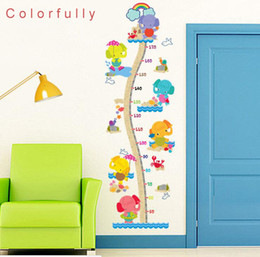 Colorful Elephant Height Scale Childrens Room Wall Stickers Decoration Wallpaper Self Adhesive Bedroom Can Be Removed
