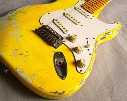 Aged custom guitArs online shopping - Custom Handwork Yellow Strat Heavy Relic ST Electric Guitar Vintage Chrome hardware Yellow Aged Neck Nitrolacquer Paint