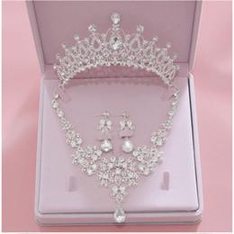 Опт весь продажавысокое качество мода Кристалл ювелирные изделия свадебный свадебный устанавливает женщины невесты тиара Корона ожерелье серьги свадебные аксессуары ювелирные изделия