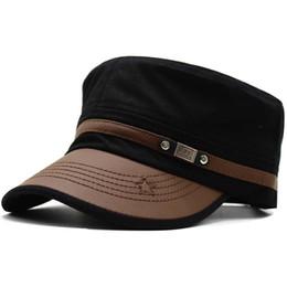 283ab24575352 Men s Fashion Flat Top Hat pu leather Peaked Baseball cap GI Army Corps Hat  Patrol Cadet Cap Sun Visor Snapback cap