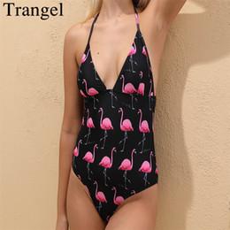 $enCountryForm.capitalKeyWord Canada - wholesale Halter One Piece Swimsuit Flamingo Print Swimwear Women Plunge Backless Bodysuit Deep V Swim Wear Padded Bathing Suit