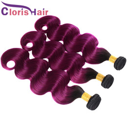 Cheap Remi Hair Weave UK - 100g Bundle Two Tone Purple Ombre Weave Cheap Brazilian Body Wave Black and Purple Human Hair Extensions Ombre Color Remi Weft 3pcs