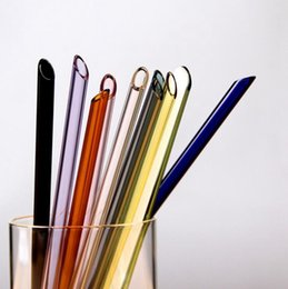 $enCountryForm.capitalKeyWord NZ - Glass Straw Pyrex Glass Drinking Straws Colorful Straight Pipet Reusable Juice Milk Straw Bar Kitchen Tools 10 Colors Optional YW1030