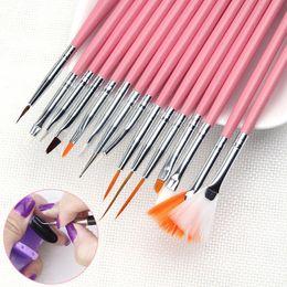 15pcs / Set professionnel UV Gel Nail Art Brosses Set Nail Design Polonais Peinture Dessin Stylo Manucure Nail Outils en Solde
