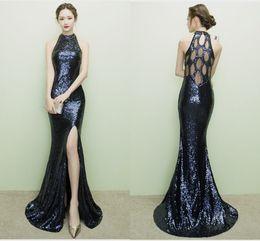 2017 autumn winter party maxi dress sling evening halter backless sequin  patchwork sexy elegant crystal navy blue black dresses vestidos 310ec1519887