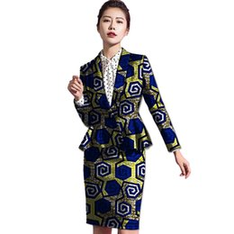 c3ad1db276e African Women Africa Print Long Sleeve Suit+Skirt Dashiki Clothes Ladies  Pleated Coat Skirts Custom Made Festive African Costume