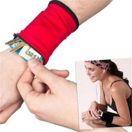Wholesale Wrist Zipper Wallet Australia - Sport Coin Purses Wrist Wallet Pouch Arm Band Bag For MP3 Key Card Storage Bag Case Wristband Sweatband Women