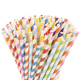 Biodegradable Straws Wholesale NZ - 100% biodegradable paper straws wholesale for Juices Shakes Smoothies Party Supplies Decorations free fast shipping via DHL FEDES EMS