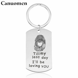 Discount gifts fingerprint - Canuomen Fingerprint with Heart Keychain Till my last day I'll be loving you Couples key chain Trendy Gift for Love