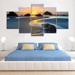 Canvas Painting Wall Artwork Abstract 5 Panel Sunset Landscape Decorative  Modular Pictures For Office Living Room Bedroom Prints