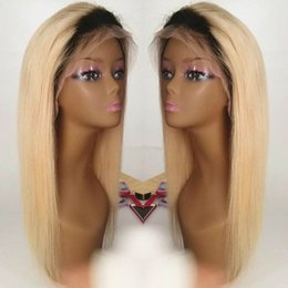 full lace wig 24 613 UK - Brazilian Ombre Full Lace Wig With Baby Hair 150% Density Straight 613# Blonde Glueless Full Lace Human Hair Wigs For Black Women