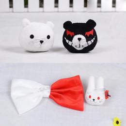 junko enoshima cosplay 2019 - New Anime Dangan Ronpa Enoshima Junko Mono Kuma Bear Hairpin Rabbit Hair Clip Halloween Cosplay Plush Hair Clip Toy Gift