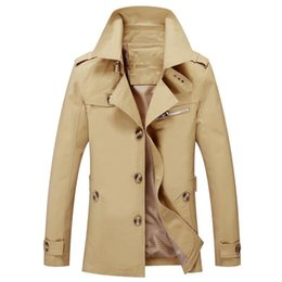Wholesale casaco cashmere masculino resale online - Hot Winter Trench Coat Brand Designer Warm Fashion Windbreaker Jacket Male Pure Color Jackets casaco masculino Dropshipping
