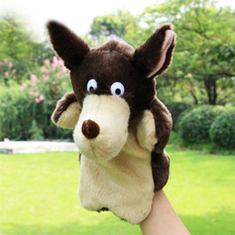 $enCountryForm.capitalKeyWord Canada - New Creative Kids Lovely Animal Plush Hand Puppets Childhood Soft Toy Wolf Shape Story Pretend Playing Dolls Gift For Children