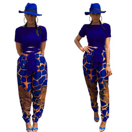 Discount camp pants - 2018 Jogging set printed two-piece set Short sleeve T-shirt top Wide leg pants Leisure sports suit women clothes nightcl