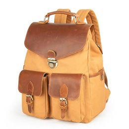 99df21054c Waterproof Retro Canvas Genuine Leather Backpack Casual Daypack Outdoor Travel  Rucksack Laptop Computer Satchel College School Bag