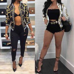 $enCountryForm.capitalKeyWord Canada - Wholesale- Autumn Ladies Bomber Jackets Retro Baseball Coat for women White Black Print Feminina Basic Outwear Gold Chain Print Clothes