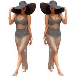 7ac7e7c5ae 2018 Hot Design Sexy Gray Hollow out Lace Summer Long Beach Dress Strap V  Neck Front Split Ankle Length Bikini Cover Ups Swimwear Dress