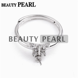 $enCountryForm.capitalKeyWord UK - Bulk of 3 Pieces Zircons Mounting 925 Sterling Silver Butterfly Ring with Pin Cup for Attaching Pearls