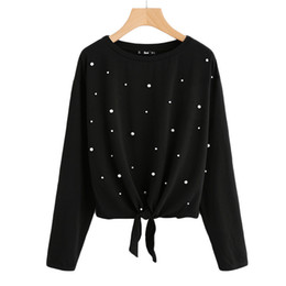 China New Pearl Beaded Knot Front Cute Tee Shirt Black Casual T Shirt For Women Long Sleeve Round Neck Women T -Shirts supplier knot neck shirt suppliers