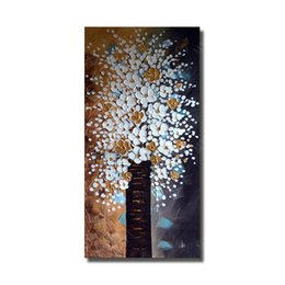 $enCountryForm.capitalKeyWord UK - White Flower Handmade Abstract Landscape Oil Painting Home Decoration Modern Canvas Wall Pictures no Framed Art