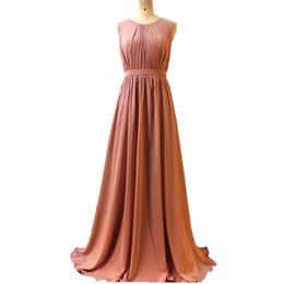 Venta al por mayor de 2017 Ghands Barato Dusty Rose JJShouse Chiffon Jewel A-Line palabra de longitud elegante vestidos formales más vestidos de dama Tamaño / color personalizado