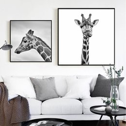 Modern abstract wall art black white online shopping - HD Nordic Style Giraffe Black n White Canvas Posters Print Modern Wall Art Pictures For Living Room Bedroom Dinning Room Studio
