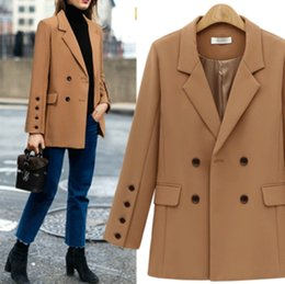 Office ladies jacket suits online shopping - 2018 OUCAG Spring new year big size women Fashion loose style office lady sexy sweet Medium long suit Jackets