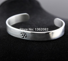wholesale silver chains india Australia - Silver Hindu Buddhist Hinduism Yoga India Stainless Steel Cuff Bangle Opening Bracelet for Men Women
