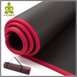 10mm extra spessore 183 cm x 61 cm di alta qualità NRB antiscivolo stuoie di yoga per fitness insapore pilates palestra pastiglie con bende