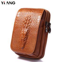 $enCountryForm.capitalKeyWord NZ - Classic Leather Belt Pouch Men Genuine Leather Cowhide Mobile Phone Bag Dragon Head Embossed Design Waist Bag 4.7~6.0 inch