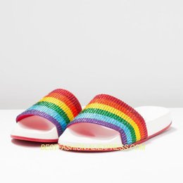 6241ec50a02ce Hot Rainbow color Crystal Slippers Casual Flats Shoes Woman Slides Bathroom  Style Slides Design Mujer Outside Beach Slippers