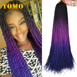 "hair twists NZ - TOMO Senegalese Twist 24"" Long Crochet Braids Pure Or Ombre Purple blue Brown green Pink Synthetic Braiding Hair Extensions 30strands pack"