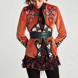 Velvet Chic Canada - 2017 autumn boho women short Coat velvet orang chic chinese style floral embroidery long sleeve jacket Hippie female outerwear