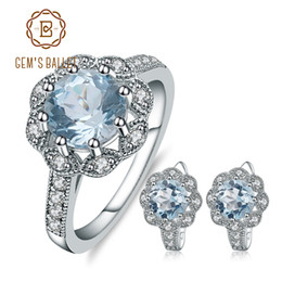 Discount snowflake clip - GEM'S BALLET Natural Sky Blue Topaz Snowflake Rings Clip Earrings 925 Sterling Silver Gemstone Fine Jewelry Set For Wome
