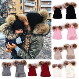 BaBy knit hats colors online shopping - Double Fur Pom Pom Beanies Colors Mom Baby Cute Warm Knitted Caps Crochet Cap Bonnet OOA5543