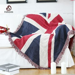 Wholesale Parkshin England Style High Quality Warm Blanket Cotton Britishi Flag Pattern Soft Sofa Cover Comfortable Bed BLanket