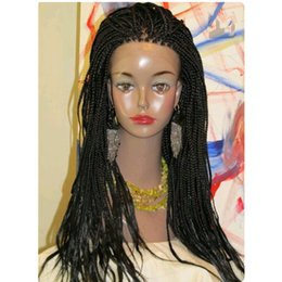 Discount synthetic braiding hair free - African American Wigs long black brown burgundy braided box braids wig full Synthetic lace wig with baby hair for women