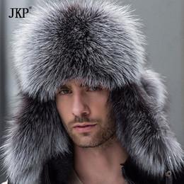$enCountryForm.capitalKeyWord Australia - Russian leather bomber leather hat men winter hats with earmuffs trapper earflap cap man real raccoon fur black fox hatska C18110801