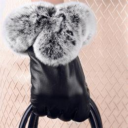 Rabbit Fur Leather Gloves Australia - 1 Pair 2018Faux Rabbit Fur PU Warm Elegant Leather Gloves For Winter Gloves Brand Mitten Women