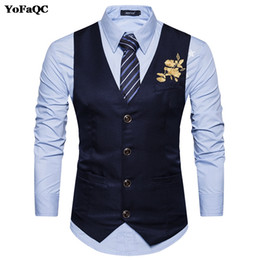 Flowers men wear weddings online shopping - 2017 New printing Flowers Left chest Vest Men Slim fit Groom s Wear Suit Vest Wedding Waistcoat Men s Dress Vests XL
