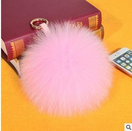 Wholesale Good quality fox fur spheroidal fashion fur ball bag keychain mobile phone accessories hang decoration many colors can choose