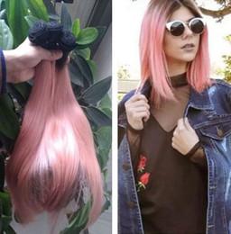 peruvian gold hair 2019 - Ombre Hair Extensions Rose gold dark roots Brazilian Straight Hair 3Pcs Soft Brazilian Ombre Rose Gold Pink Weave cheap