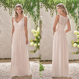 b2ebeff00c1 Classy Lace Bridesmaid Dresses Cheap Long A-Line V Neck Pleated Country  bohemian Wedding Guest Dress Floor Length Chiffon Party Gowns