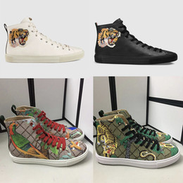 b52815f409f1 Men Designer Sneakers high-top sneaker Printed genuine leather boots with  angry cat tiger dragon sneaker for men women size 35-45